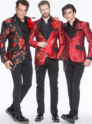 three red prom suits looks