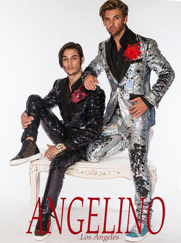 mens sequin suits black and silver