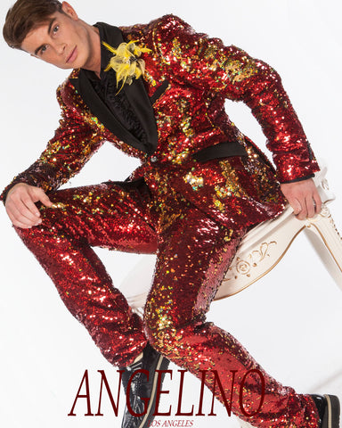 Red sequin suit for men