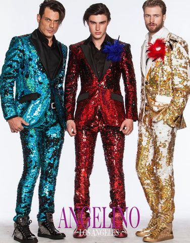 Sequin suits in gold, red, and blue
