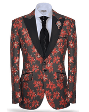 Men's Simple Fashion Suit Rock F. Red - ANGELINO