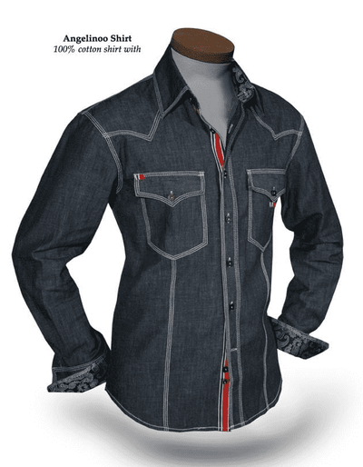 Men's Fashion Angelino Denim Shirt Royal Washed - ANGELINO