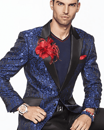 Mens Fashion Blazer-Magic Blue peak lapel