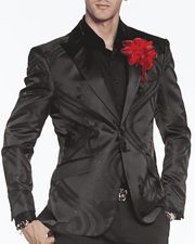 Stylish black blazer for men, satin feel, soft black, shiny black, slim fit blazer, black slim fit blazer, designs of smoke on the jacket, smoking jacket,