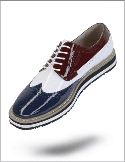Men's Fashion Leather Shoes Spirit Navy/White - ANGELINO