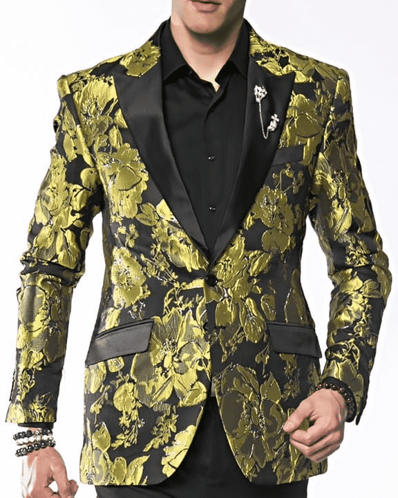 Men's Fashion Blazer and Sport Coat Flower17 Green - ANGELINO