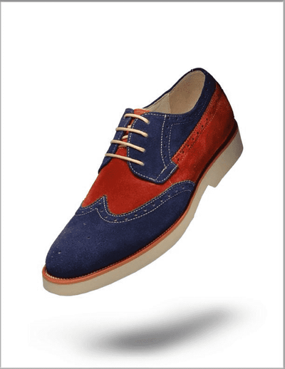Men's Oxford Suede Leather Shoes T. Suede Navy - ANGELINO