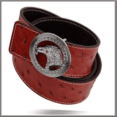 Men's Fashion Angelino Belts #300 Red - ANGELINO