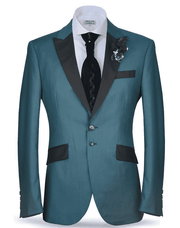 peak lapel two buttoned 3 pockets outside teal blue classic suit