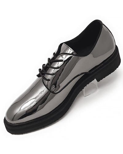 SHINY SILVER/BLACK DERBY BIT DRESS SHOE,Angelino Fashion forward footwear. Eye catching silver mirror coat, lace up closure with hidden eyelets, leather lining, blocked heel, comfort and durability.