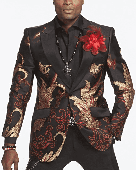 Mens fashion Blazer with gold and red paisley motives