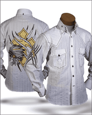 Men's Fashion shirt Indian White - ANGELINO