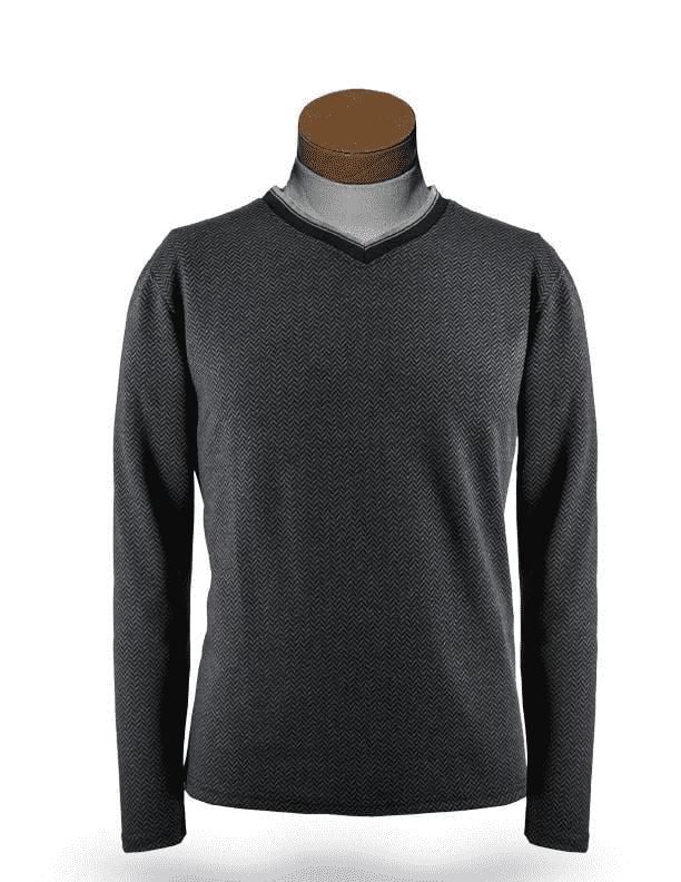 Men's New Fashion Angelino T Shirts Herringbone Grey - ANGELINO