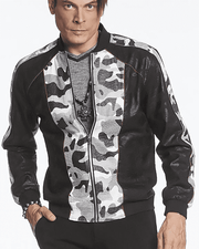black Bomber Jacket with black & white camouflage print in front