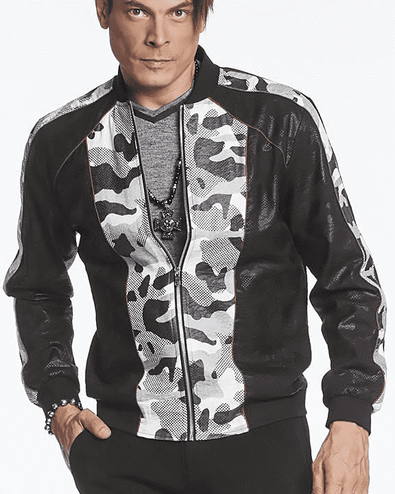 Bomber Jacket, black and Dot design  - ANGELINO