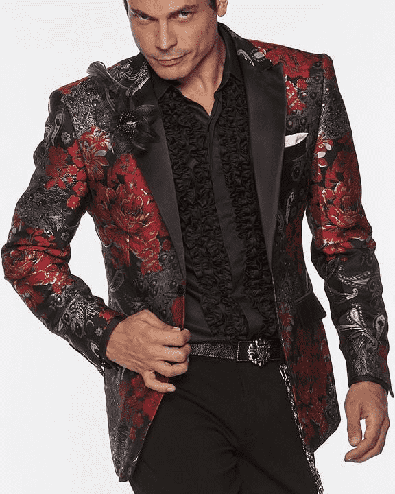 Stylish Men's Fashion Blazer and Sport Coat Peacock Red - ANGELINO