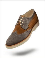 Men's Oxford Suede Leather Shoes  T. Suede Gray - ANGELINO