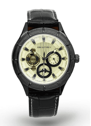 black watch with yellow face and 3 chronometer