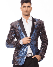 peak lapel Favorite Fashion Sequins Blazer- Sic. Blue and Purple, single breast, structured, angle pockets, four button kissing sleeve, fully lined, english vent