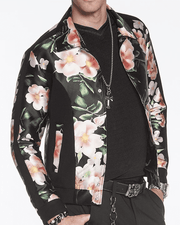 Men's New Fashion Bomber Jacket Flowers - ANGELINO