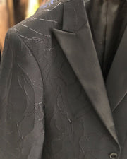 Men's Black Blazer - 3D Floral - prom - wedding - men's jacket - ANGELINO