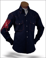 Men's Fashion Shirt Indian Navy/Red - cotton - shirts - Casual - ANGELINO