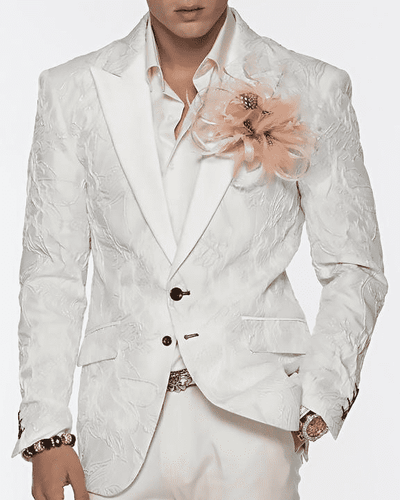 Men's Fashion Blazer and Sport Coat Ripple White and Silver - ANGELINO