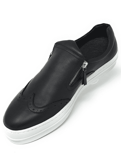 mens WINGTIP SLIP ON SNEAKER WITH ZIPPER, black slip on wingtip, wingtip slip on with zipper on side