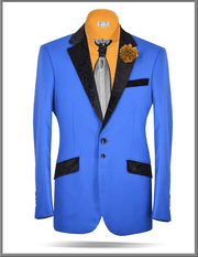 Sport Coat V. Lapel Blue with black velvet - ANGELINO