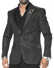 Fashion Sport Coat/Blazer- Tyler Black - ANGELINO