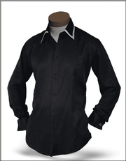 Men's New Fashion Angelino Silk Shirts SJ Black - ANGELINO
