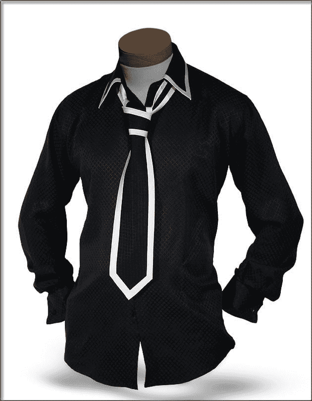 Mens Silk Shirts, Black - ANGELINO