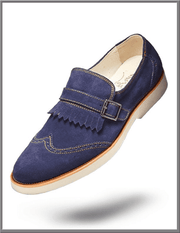 Men's Tassel Fridge Suede Leather shoes Suede Navy - ANGELINO
