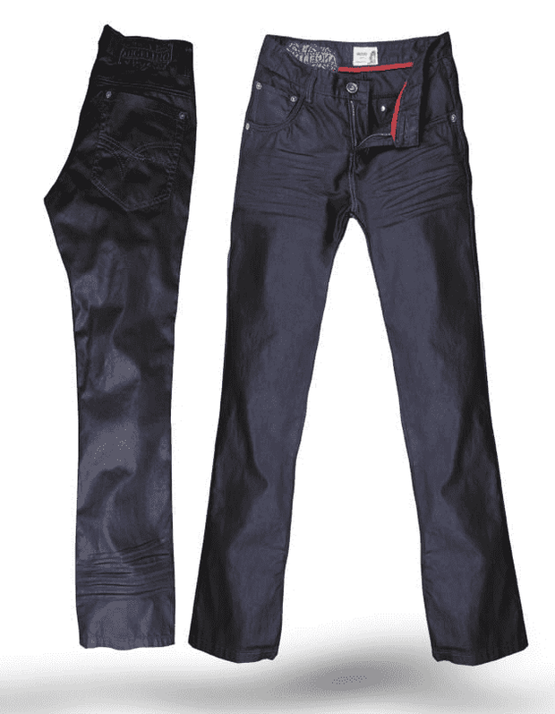 Diego charcoal,This dark jeans fabric is coated with wax and is straight cut.