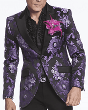 Fashion Blazer black with purple victorian motives peak lapel, single breast, structured, peak lapel, angle pockets, four buttons kissing sleeve, fully lined, english vent,