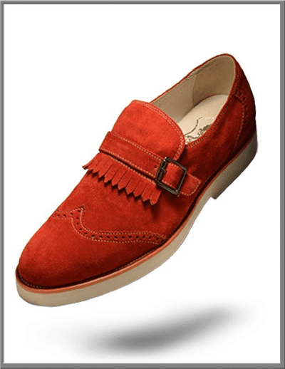 Men's Tassel Fridge Suede Leather shoes Suede Rust - ANGELINO