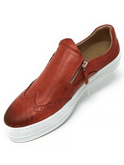 red leather WINGTIP ZIPPER SLIP ON