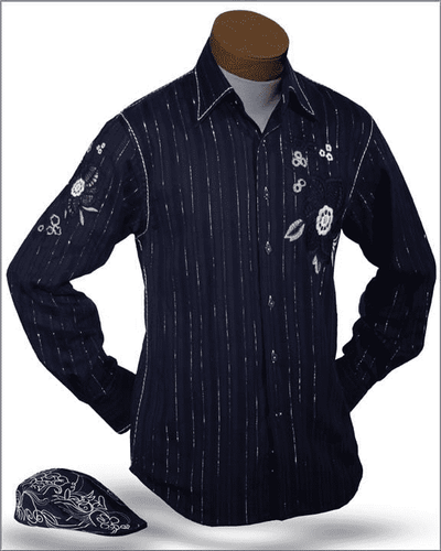 Men's New Fashion Angelino Shirts Amato Navy - ANGELINO