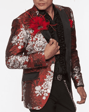 Stylish Men's Fashion Blazer and Sport Coat Peacock Red/White - ANGELINO