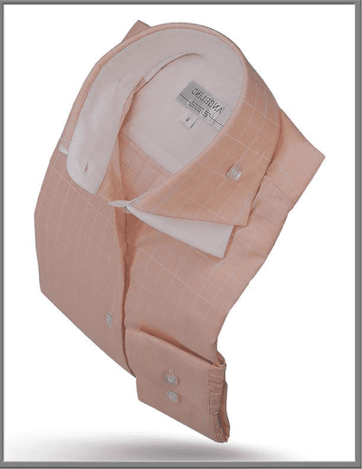 Men's Cotton Shirt - Double Collar Peach - ANGELINO