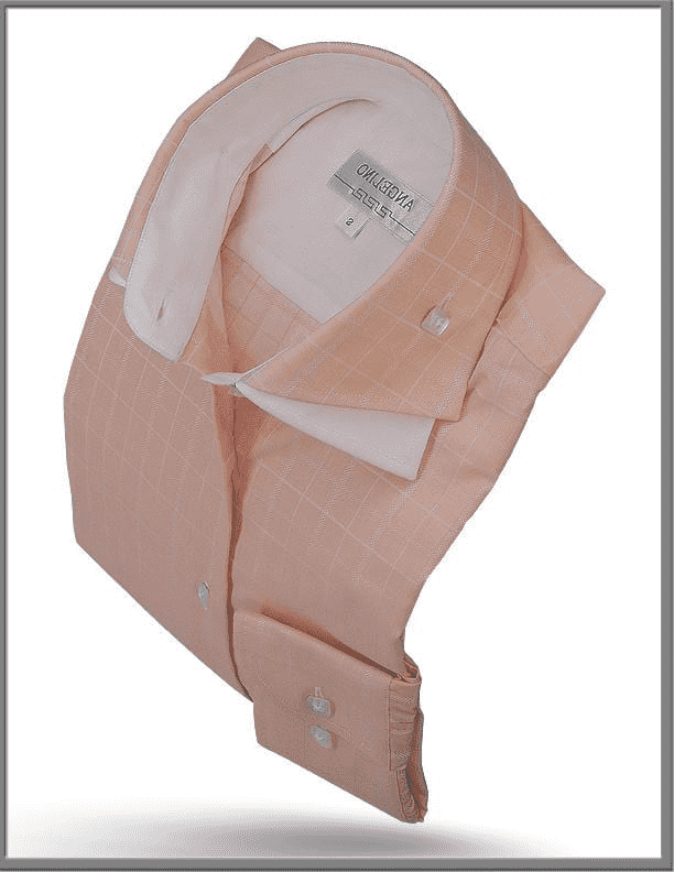 Angelino Double Collar Shirt, Peach