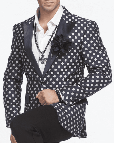 Blazer for Men, W. Dot Navy/White - ANGELINO