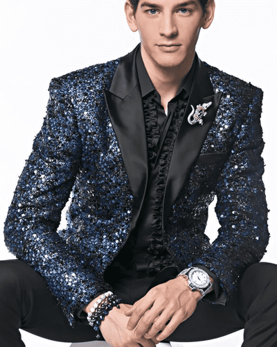 Men's Sequin Blazer and Sport Coat Stella2 Blue - Fashion - blazers - Men - ANGELINO
