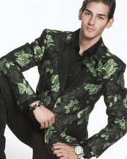 Men's Fashion Blazer and Sport Coat-Flower Paisley Green - ANGELINO