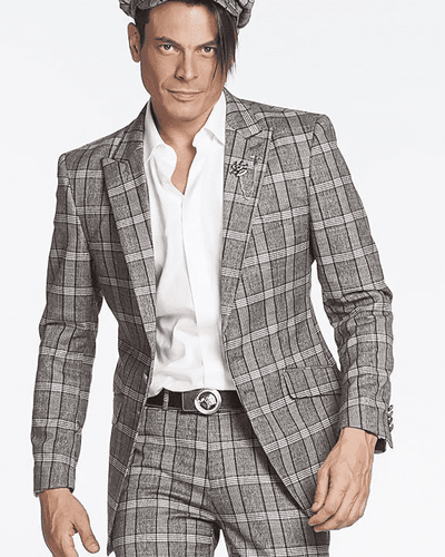 fashion grey plaid suit, GRAY SUIT, PLAID PATTERN, BLUE LINES, BOX PATTERN,