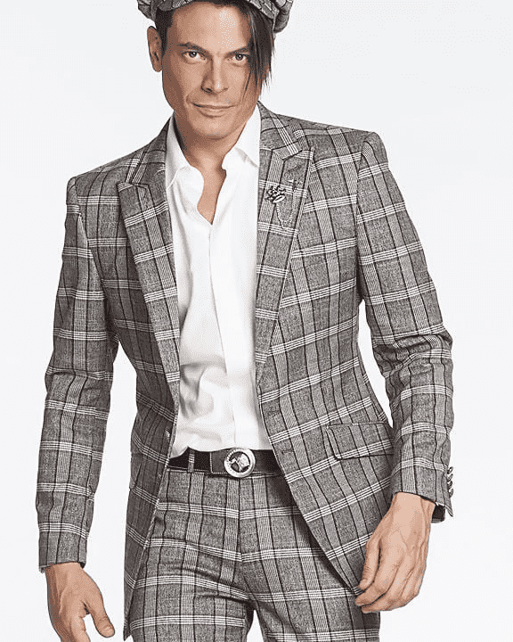 New Simple Men's Fashion Suit Glen Grey/Red - ANGELINO