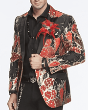 Men's Blazer-Cactos Red Festival, BLACK, BLAZER, RED AND GOLD PRINT, ALL OVER, CACTUS, RED CACTUS,