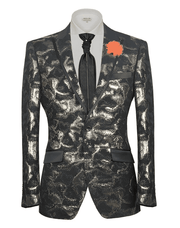 Fashion Sport Coat/Blazer- Spark Gold spot gold and black with black trims on lapel.