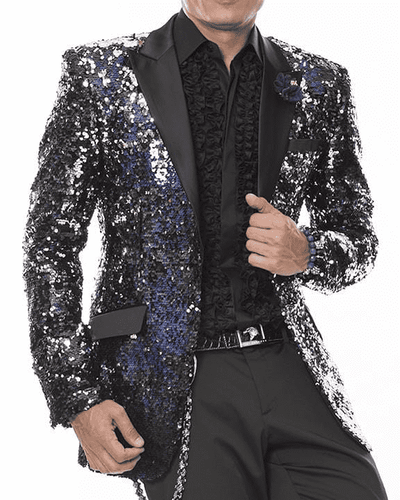 Men's Fashion Sequins Blazer and Sport Coat Sequins Vegas Blue - ANGELINO