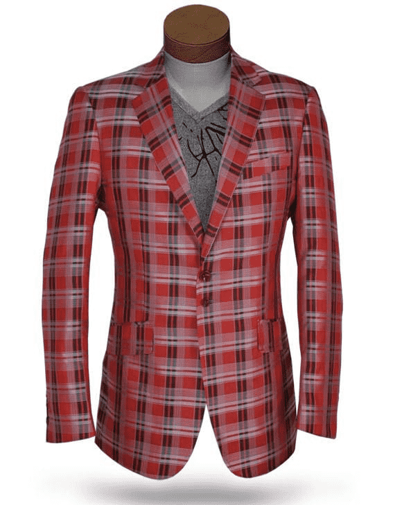 mens plaid dapper Blazer cuadro Red, plaid red, fine micro fiber material, slim fit,